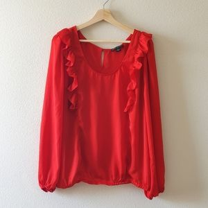 Forever 21 Red Long Sleeve Blouse